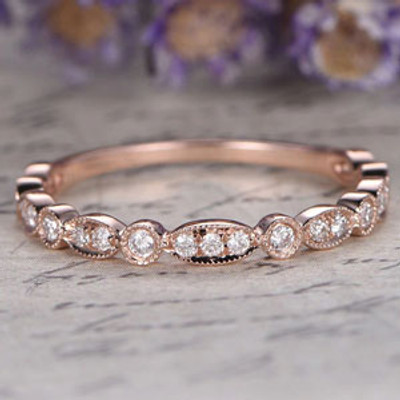 Marquise set Diamond Wedding Band,Solid 14K rose Gold,3/4 Eternity engagement ring,promise ring,custom make fine jewelry,unique