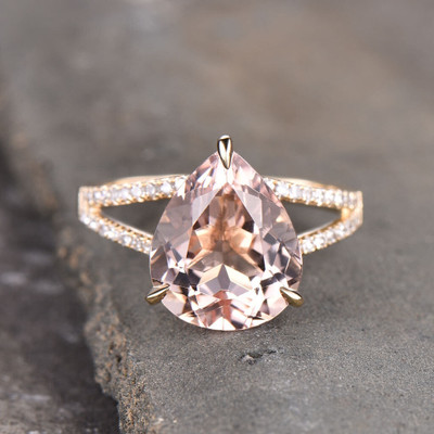 Pear Shaped Morganite Engagement Ring Yellow Gold
