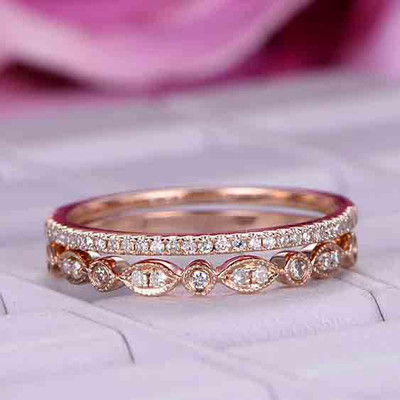 Diamond Wedding Rings Set Rose Gold 0