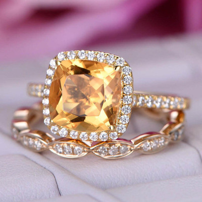 8mm Citrine Engagement Ring Set 0