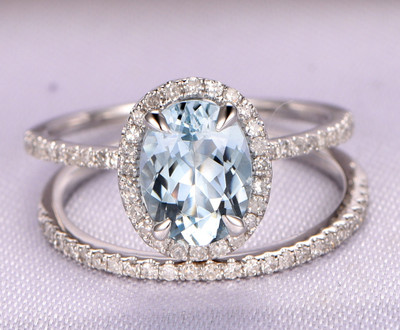 Aquamarine engagement ring set,6x8mm oval aquamarine ring,14k white gold,Eternity diamond Wedding Band,Bridal Set,Wedding ring set