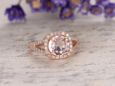 Cushion Cut Morganite ring