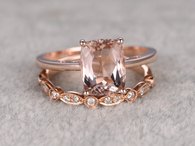 Cushion Cut Morganite Wedding Set