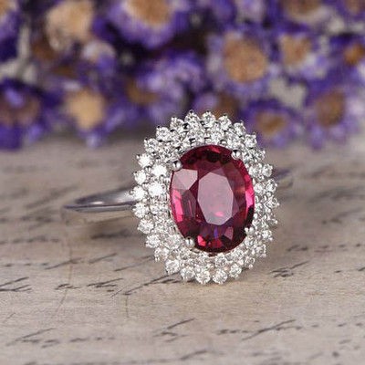 VVS-H Natural Red Garnet Engagement Ring 0