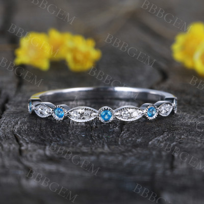 14K WHITE Gold Wedding Band,half Eternity Engagement Ring,stacking mstcinging band,custom made fine jewelry,Milgrain Diamond with blue topaz