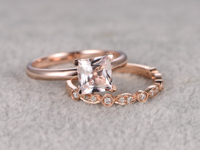Princess Cut Morganite Wedding Set