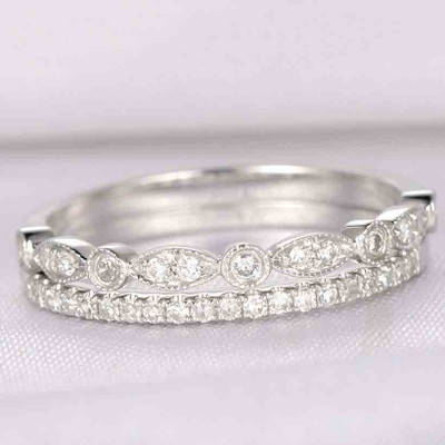Diamond Wedding Band Set,Anniversary ring,Half Eternity 14k White gold,Marquise Eternity Band