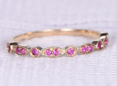 Ruby Anniversary Band Rose Gold-BBBGEM Vintage Ruby Everyday Rings