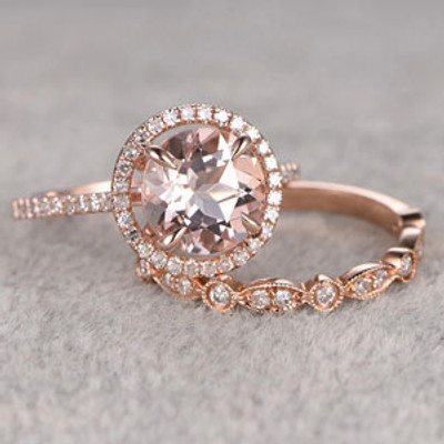 morganite diamond engagement ring set