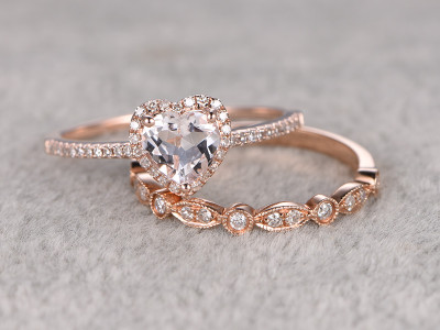 heart morganite engagement ring set