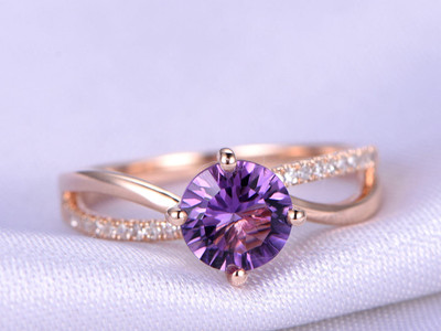 Solitaire Amethyst Infinity Engagement Ring