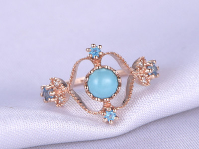 New Design Turquoise Anniversary Ring,5mm Round Shape Turquoise Engegement Ring,Topaz Halo And Topaz Matching Band,14k Rose Gold Ring