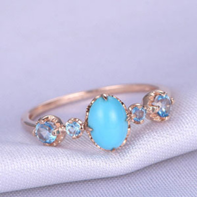 Gold Ring,Turquoise Engagement ring,Sleeping Beauty 5x7mm Oval Cut Turquoise Ring,Gem Stone Ring,14k Rose Gold,Sky Blue Topaz Matching Band