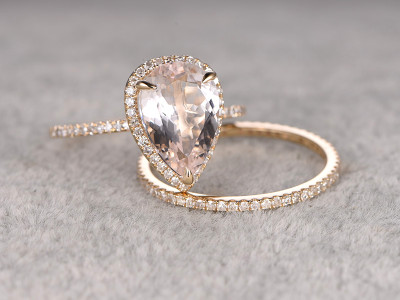 morganite engagement ring set yellow gold