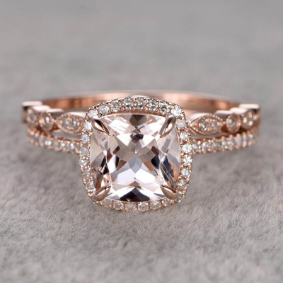 Morganite Wedding Set Diamond Bridal Ring