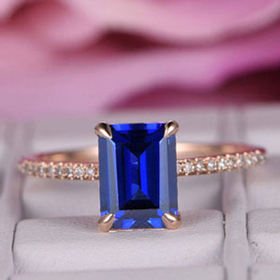 6x8mm Emerald Cut Sapphire Engagement ring/14k rose gold diamond band/Half Eternity Bridal wedding ring/Birthstone gift/Claw prong/Pave set