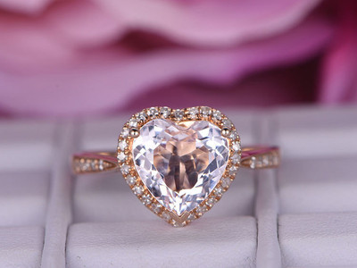 Heart Shaped Morganite Engagement Rings