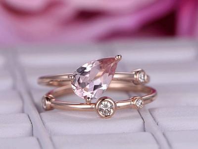 6x9mm Pear Cut Morganite Engagement ring set