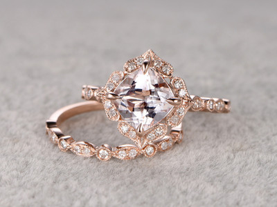 female morganite engagement ring set