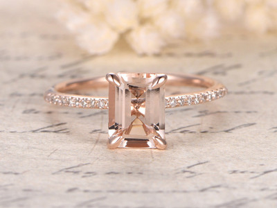 Emerald Cut Morganite Engagement Rings