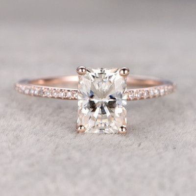 Radiant Cut Moissanite Engagement Ring 6X8 0
