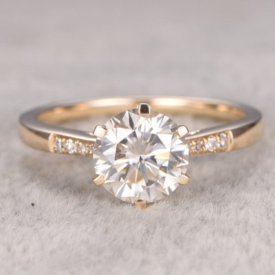 Channel Moissanite Diamond Engagement Ring 0