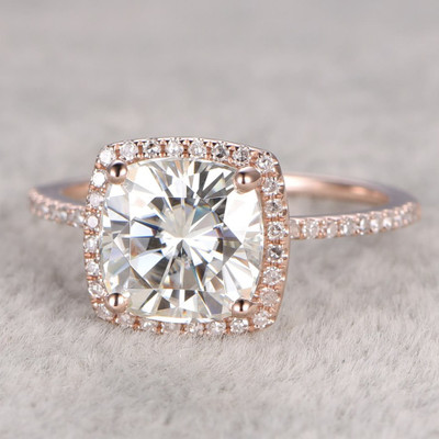 Cushion Cut Moissanite Diamond HaloEngagement Ring 0