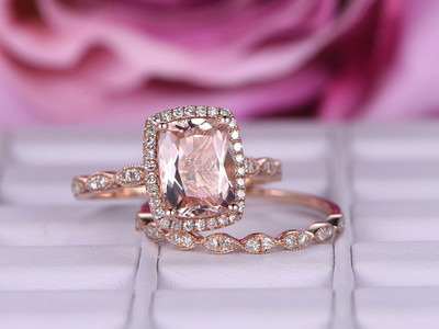 Morganite wedding ring set