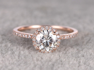 7mm Round Moissanite Engagement Ring Diamond Wedding Ring 14k Rose Gold Halo Prong Set