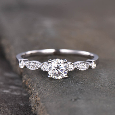5mm Round Cut Moissanite Engagement Ring White Gold