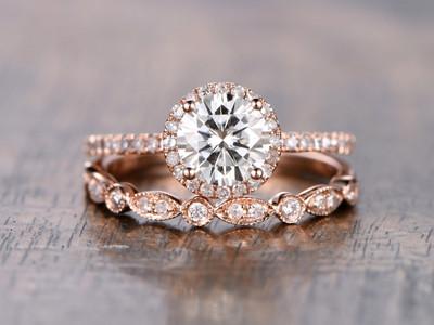 Moissanite Halo Engagement Rings-BBBGEM 1 Carat Moissanite Ring