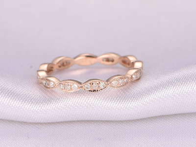 Full Eternity diamond Wedding ring,Anniversary ring,solid 14k Rose gold,Infinity Ring,Art Deco Antique,Matching Band,Marquise Style