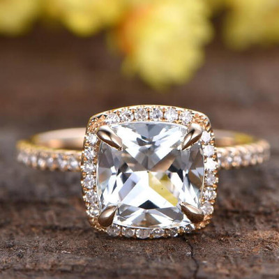 Cushion Cut White Topaz Engagement Ring Yellow Gold 0