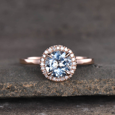 Round Cut Aquamarine Engagement Ring