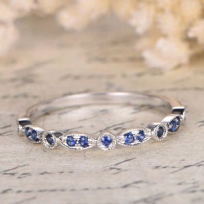 Sapphire Wedding Band Half Eternity Band Sapphire Bezel Engagement Ring Milgrain Wedding Band Art Deco 14k White Gold Marquise & Dot Ring