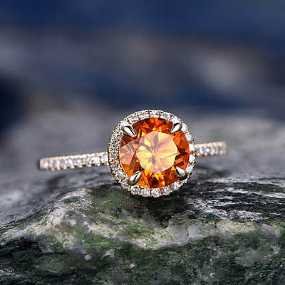Yellow Citrine engagement ring-Solid 14k Yellow gold 0