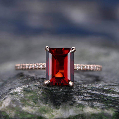 8x6mm Emerald Cut Red Garnet engagement ring 0