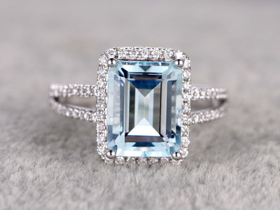 10x12mm Emerald Cut Aquamarine Engagement Ring Diamond Wedding Ring 14k White Gold Split Shank Halo Prong Set