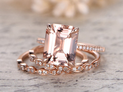 Emerald Cut Rose Gold Morganite Wedding Sets