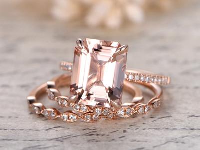 Emerald Cut Rose Gold Morganite Wedding Sets