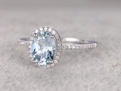 6x8mm Oval Aquamarine Engagement Ring Diamond Wedding Ring 14k White Gold Blue Gemstone Pave Thin Design Halo