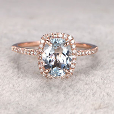 6x8mm Oval Aquamarine Engagement Ring
