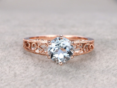 8mm Round Aquamarine Engagement Ring Diamond Wedding Ring 14k Rose Gold Blue Gemstone Fashion Pave