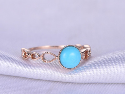 6mm Round Cut Turquoise Engagement ring,Sleeping Beauty Turquoise Ring,14k Rose gold,Cut out Wedding Band,Bridal Ring,Anniversary ring