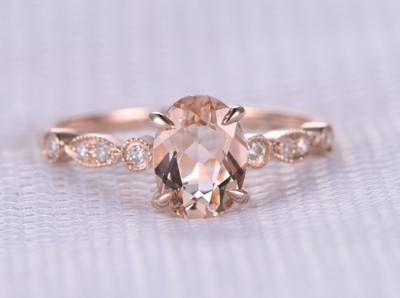 Pink Oval Morganite Engagement Ring 14k Rose gold Milgrain design