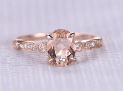 Pink Oval Morganite Engagement Ring 14k Rose gold Milgrain design