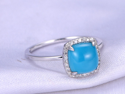 Cushion Cut Turquoise Engagement ring