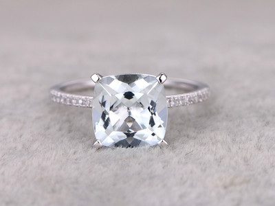 3.01ctw Cushion Aquamarine Engagement Ring Diamond Wedding Ring 14k White Gold Fashion Pave Set