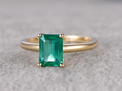 Emerald Cut Solitaire Ring-BBBGEM Emerald Ring Gold