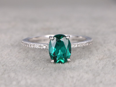 6x8mm Oval Emerald Engagement Ring Diamond Wedding Ring 14k White Gold Anitique Pave Thin Set